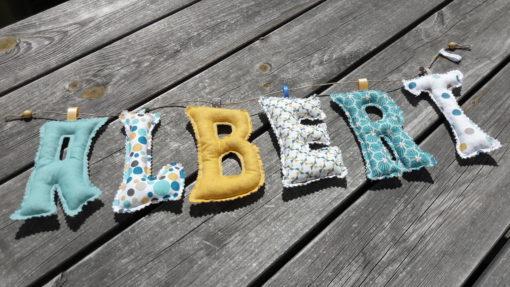 guirlande prénom avec lettres en tissu Albert