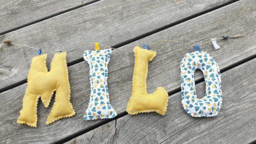 guirlande prénom avec lettres en tissu Milo