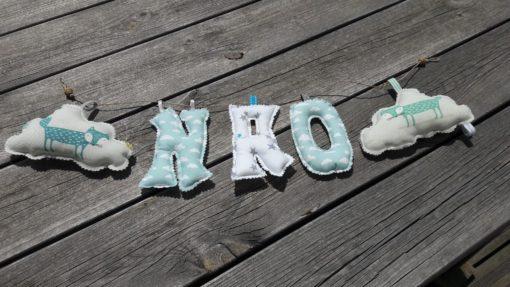 guirlande prénom avec lettres en tissu Nao