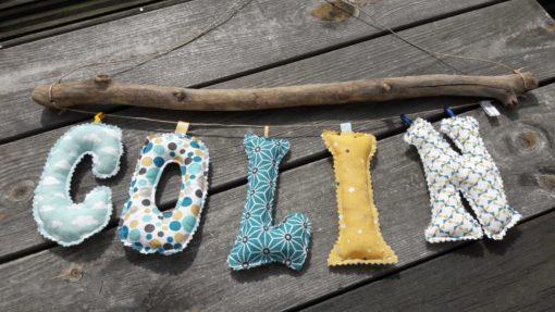 guirlande prénom avec lettres en tissu Colin
