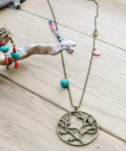 Sautoir bronze avec biais tissu liberty et perle facette turquoise