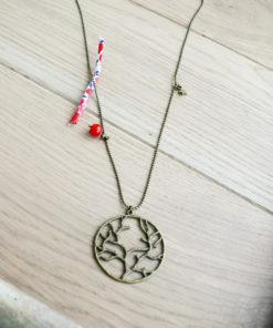 Long collier sautoir bronze vintage fait main personnalisé