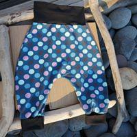 tissu jersey pois bleu et mauve