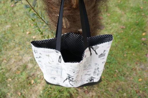 Tote bag pour femme en simili cuir et tissu
