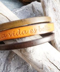 Bijoux cuir marron artisanal la vida es bella pour femme