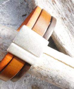 Bracelet large en cuir femme ou homme fermoir magnétique
