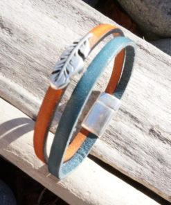 Bracelet bijoux personnalisé en cuir avec plume pour femme, ado, fillette