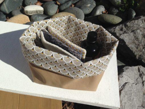 Panier en tissu pour produits de beauté lingettes