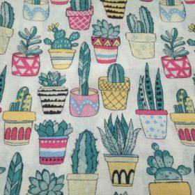 Tissu en coton pot de fleur cactus