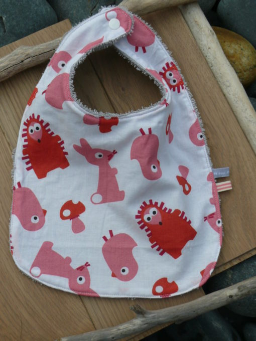 Bavoir réversible en coton pour bebe ou enfant fait main