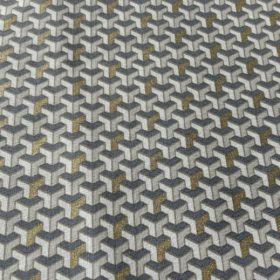 tissu coton cubique gris bleu or