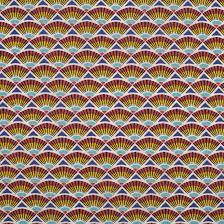 coton enduit rouge et bleu éventail
