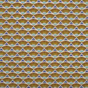 toile enduite jaune et bleu éventail