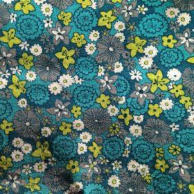 tissu fleuri bleu turquoise gris et vert anis