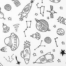 Tissu de coloriage fusée, planète, étoile, noir et blanc