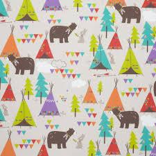 tissu forêt couleur, ours et tipi