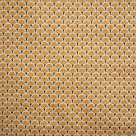 tissu en coton oeko tex éventail jaune gris