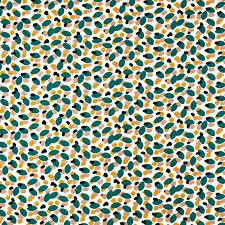 Tissu en coton bleu jaune corail