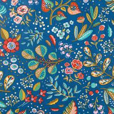 Coton enduit bleu fleuri rouge et doré