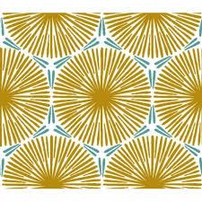 Tissu en coton enduit rosaces jaune