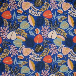 Tissu enduit feuilles bleu rose et doré