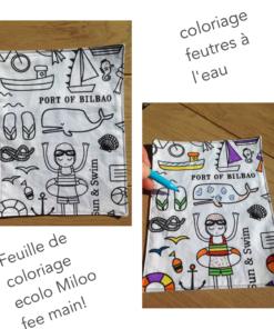 Feuille de tissu à colorier lavable, écologique, zéro déchet