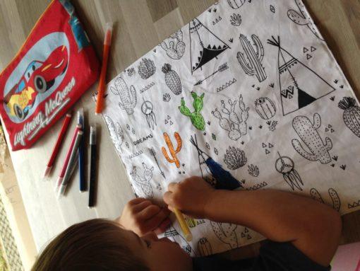 set de table à colorier pour enfant, zéro déchet