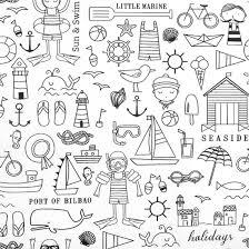 Tissu à colorier lavable en machine thème plage, bâteau, marin, pécheur, cabane en bois, vacances, glace