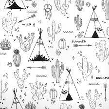Coloriage tissu cactus, tipi, flèche, attrape rêve