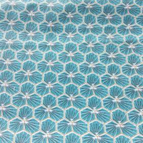 Tissu oekotex en coton enduit à fleurs bleu