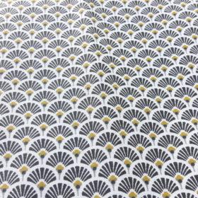 Tissu bio en coton enduit motif éventail noir et blanc