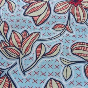 Tissu coton style wax fleuri rouge jaune et bleu