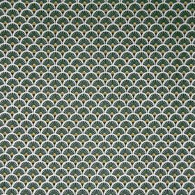 Coton tissu oeko tex éventail gris bleu