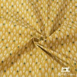 tissu plumes en coton jaune