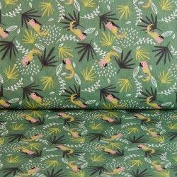 tissu en perroquet perroquet et feuilles vert et jaune