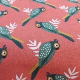Tissu corail motif oiseaux