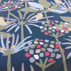 Tissu coton fond vert fleurs minimalistes