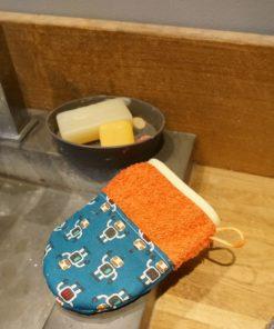 gant de toilette motif robot pour garçon