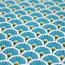 Superbe tissu imperméable bleu turquoise éventail