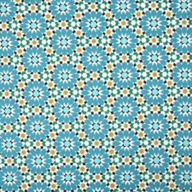 Tissu coton bleu et jaune à fleurs mosaique