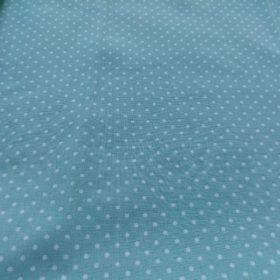 tissu fond bleu à point blanc